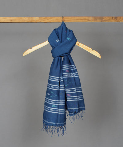 Navy blue handspun handloom cotton jamdani stole