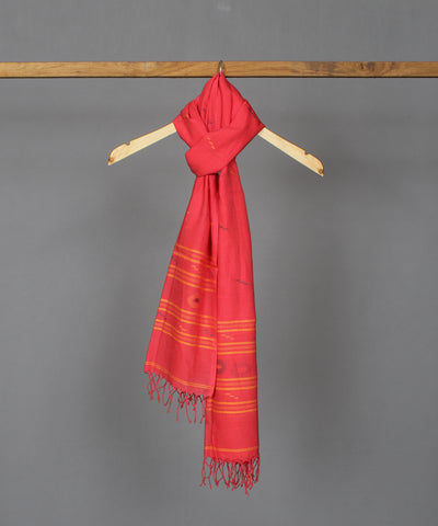 Pinkish red muslin stole in multicolor jamdani motif