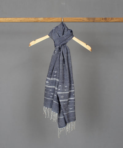 Lead grey muslin stole in white jamdani motif