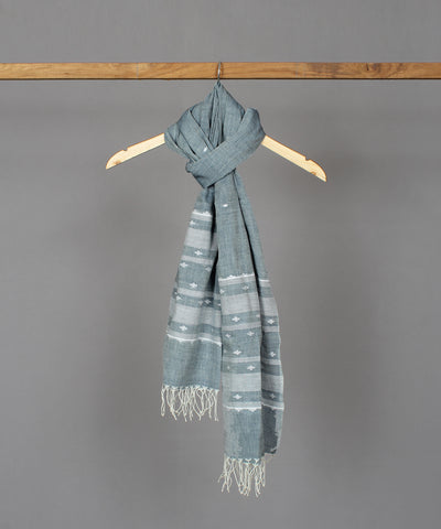 Steel grey muslin stole in white jamdani motif