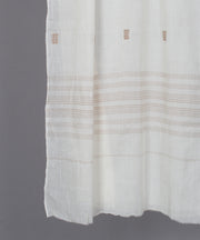 Natural white muslin stole in brown jamdani motif