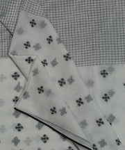 white jamdani handloom checks cotton fabric