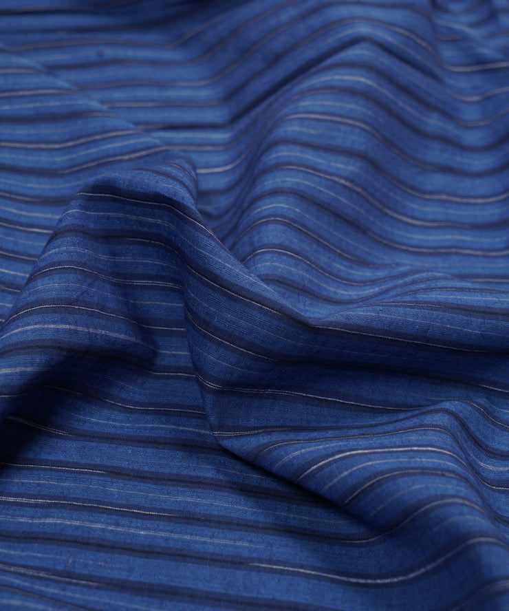 navy blue stripe handloom cotton fabric