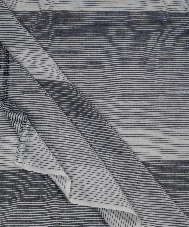 grey white stripe handloom cotton fabric