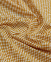orange checks handloom handspun cotton fabric