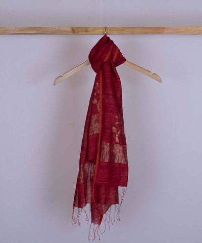 Red handwoven silk jamdani stole