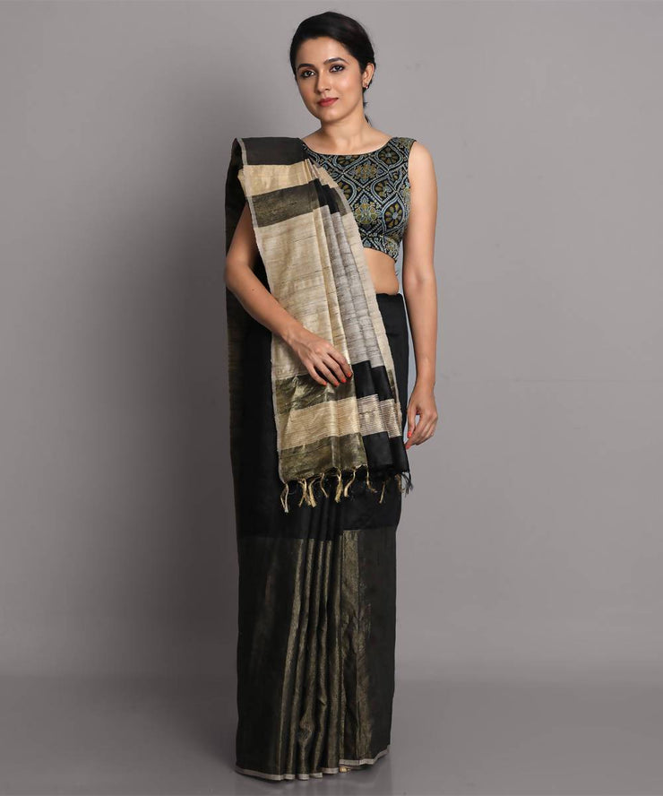Black handwoven tussar silk saree