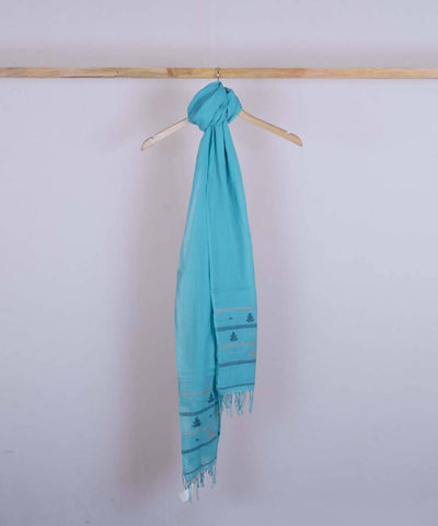 Cyan blue handwoven cotton jamdani stole