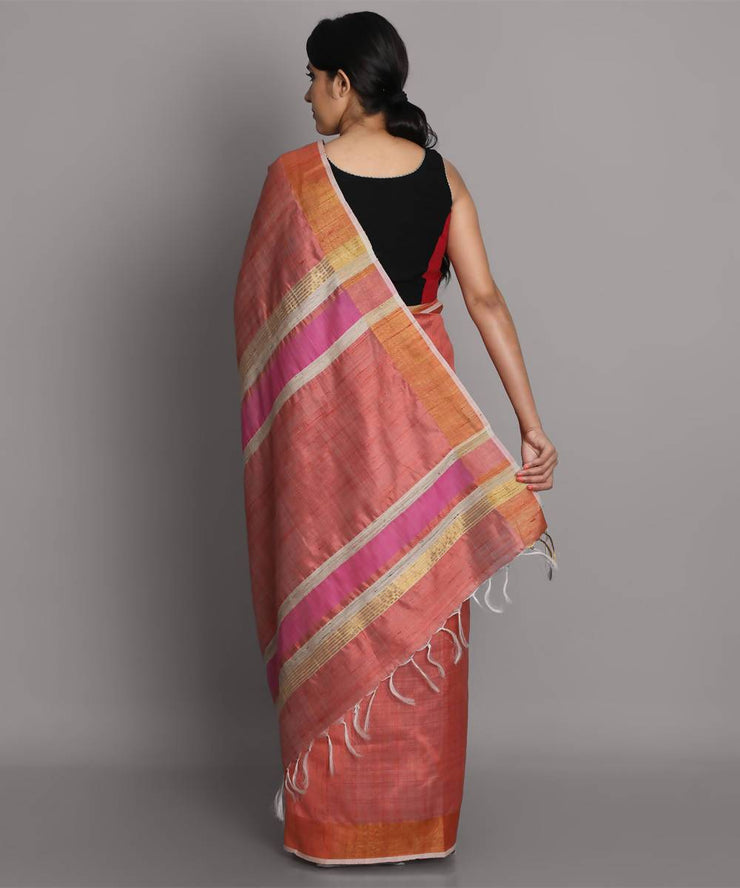 Peach handwoven tussar silk saree