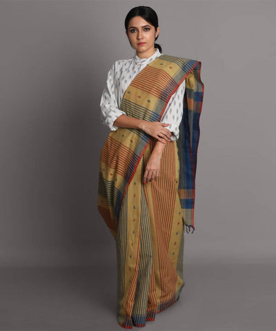 Brown blue cotton jamdani handwoven saree