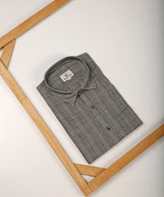 Grey striped collared shirt