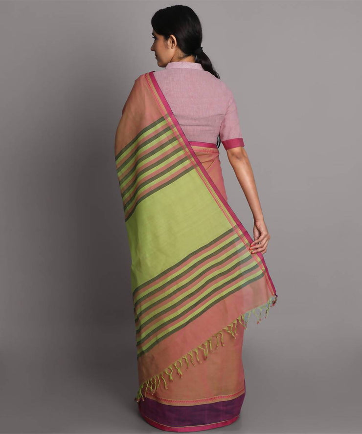 Beige pink cotton handwoven saree