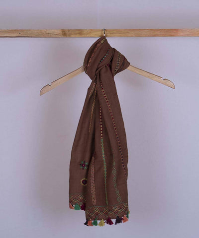 Brown lambani hand embroidered cotton stole