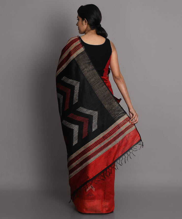 Red maroon handwoven tussar silk saree