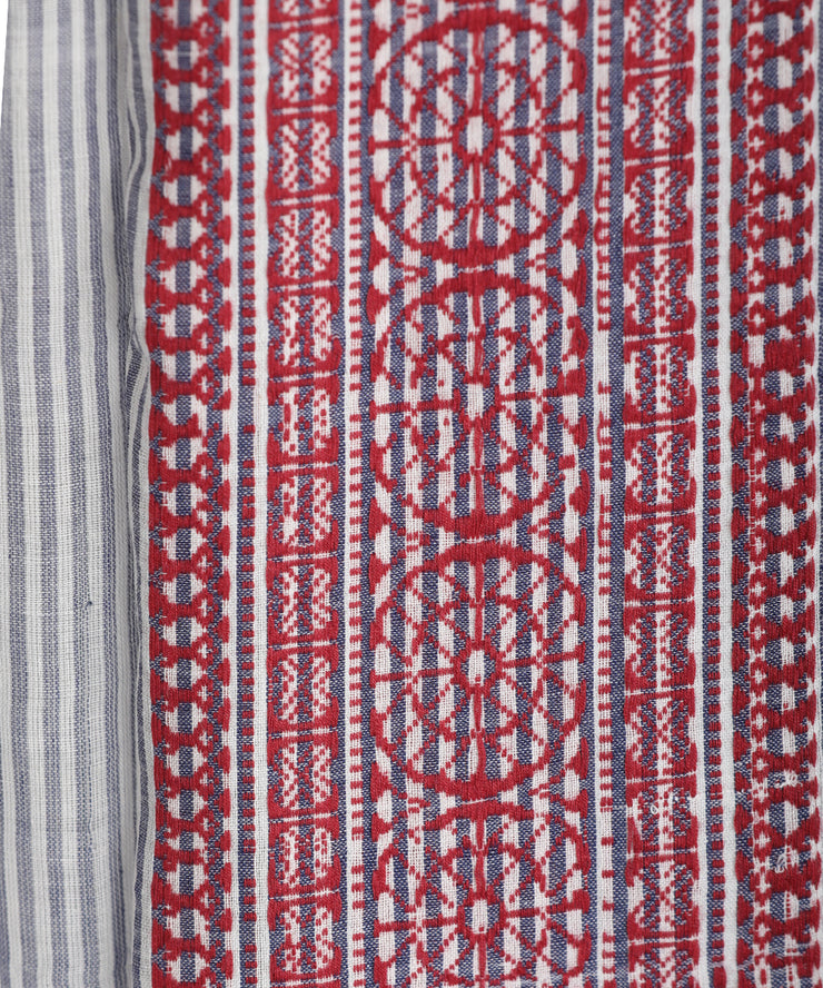 Red striped jamdani handwoven muslin stole