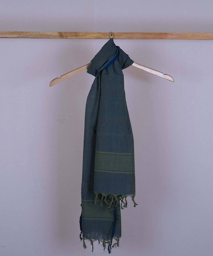 Blue dual shaded handwoven cotton jamdani stole