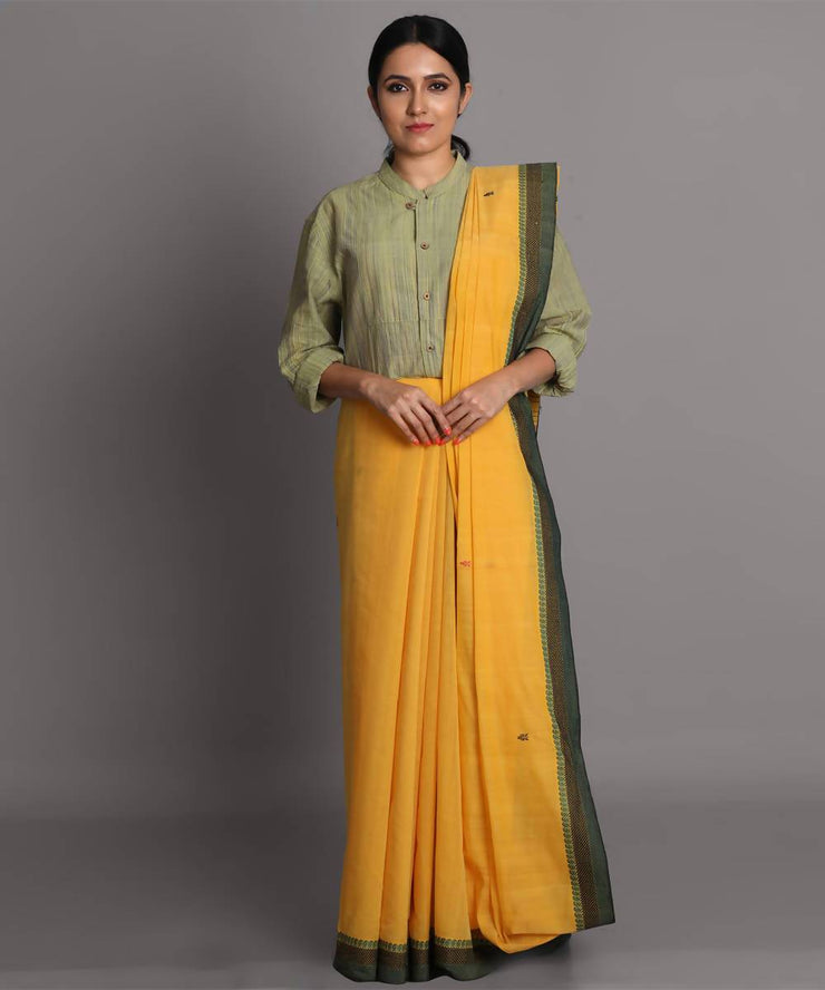 Yellow cotton jamdani handwoven saree