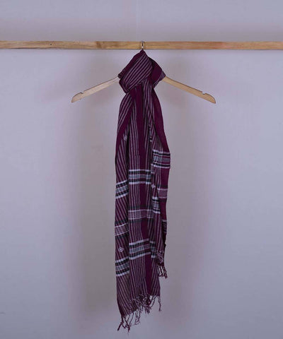 Maroon handwoven cotton stole