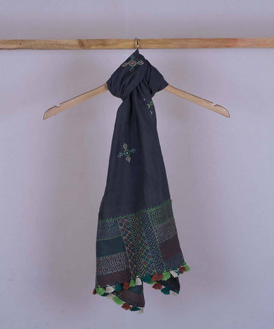 Blue grey lambani hand embroidered cotton stole