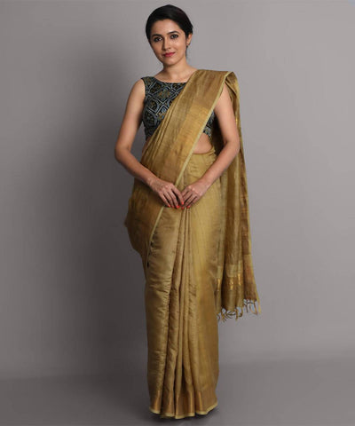 Golden handwoven tussar silk saree