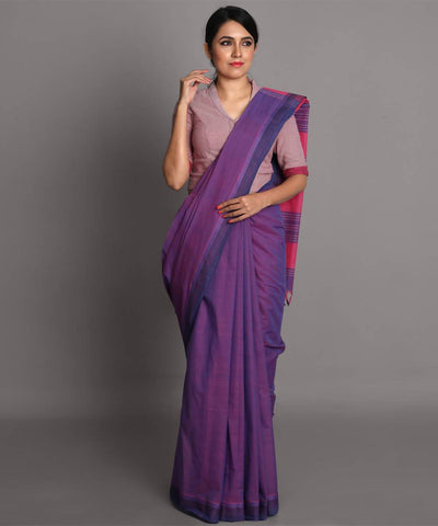 Lavender cotton handwoven saree
