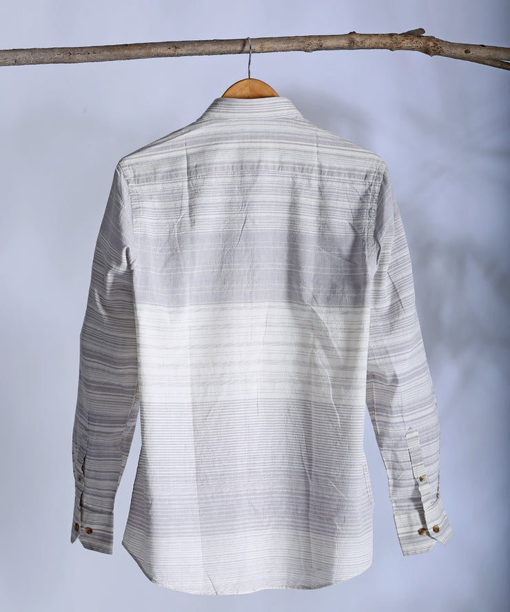 Grey white engineered striped collared shirt