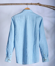 Light blue seer sucker collared shirt