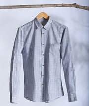 Blue striped collared shirt