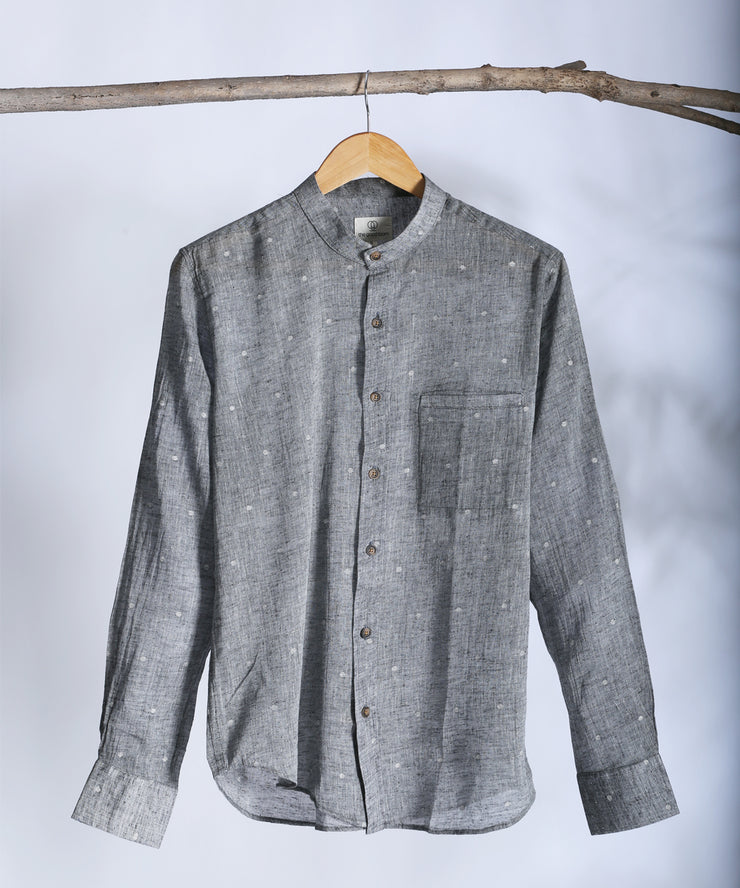 Grey jamdani mandarin collared shirt