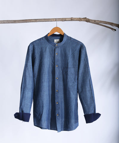 Dark blue dobby mandarin collared shirt