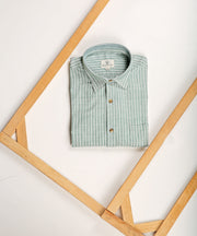 Sea green striped collared shirt
