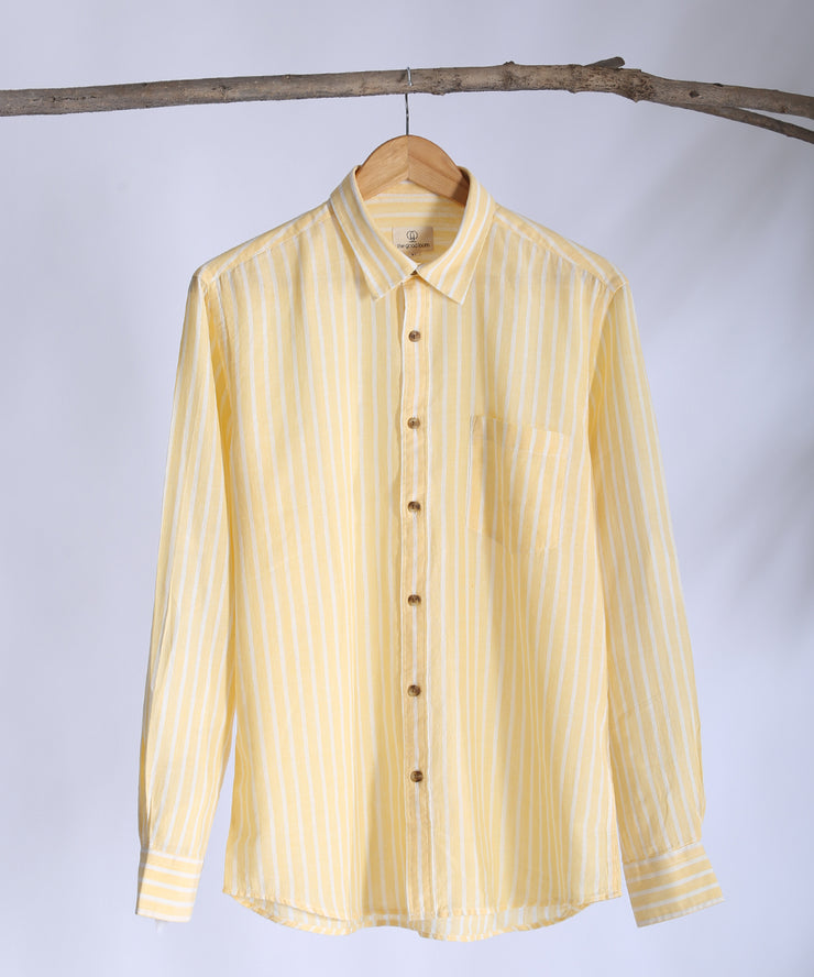 Yellow striped collared shirt