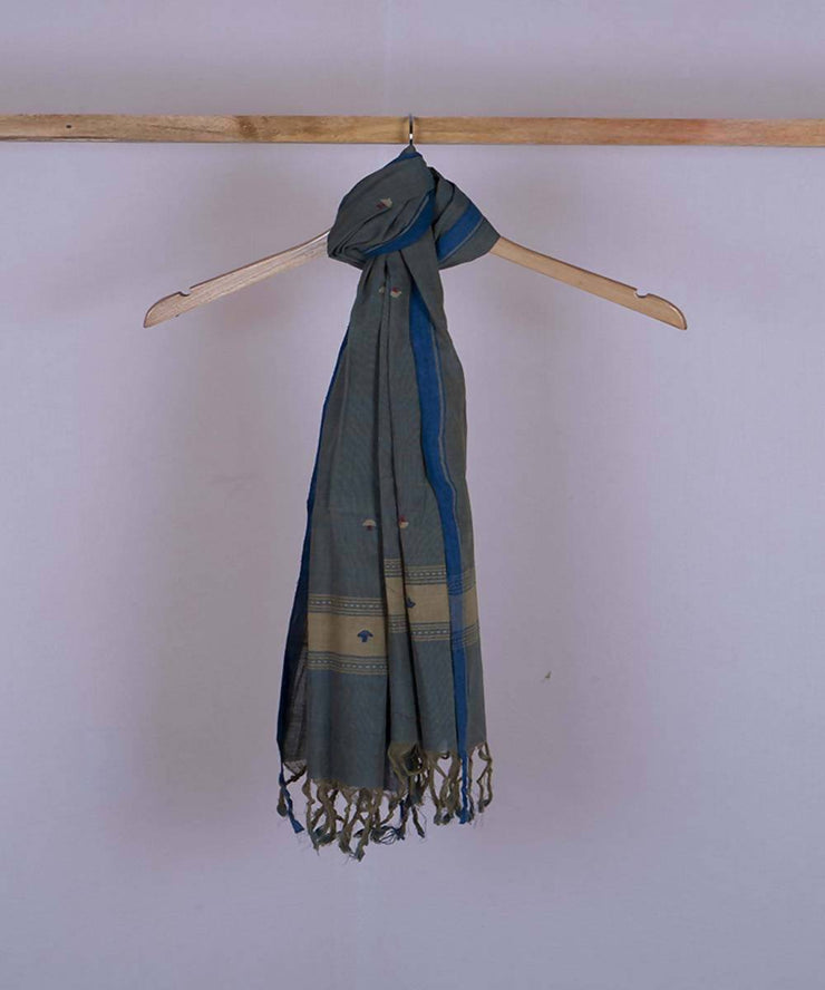 Blue beige dual shaded handwoven cotton jamdani stole