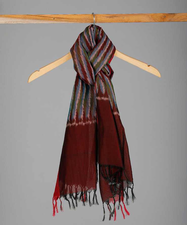 Multicolor with red single ikat cotton stole