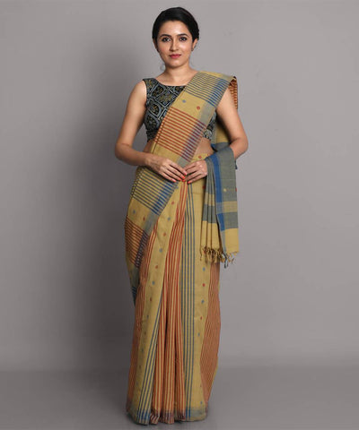Beige blue jamdani cotton handwoven saree