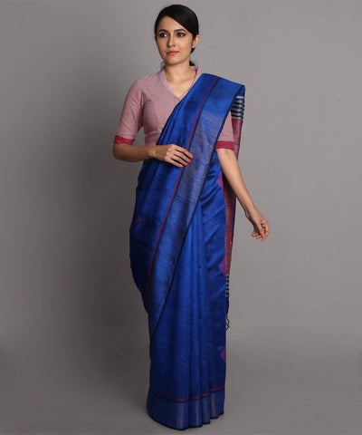 Deep blue handwoven tussar silk saree