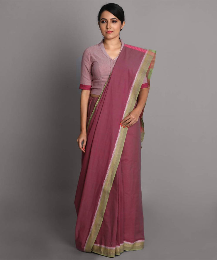 Mauve cotton handwoven saree