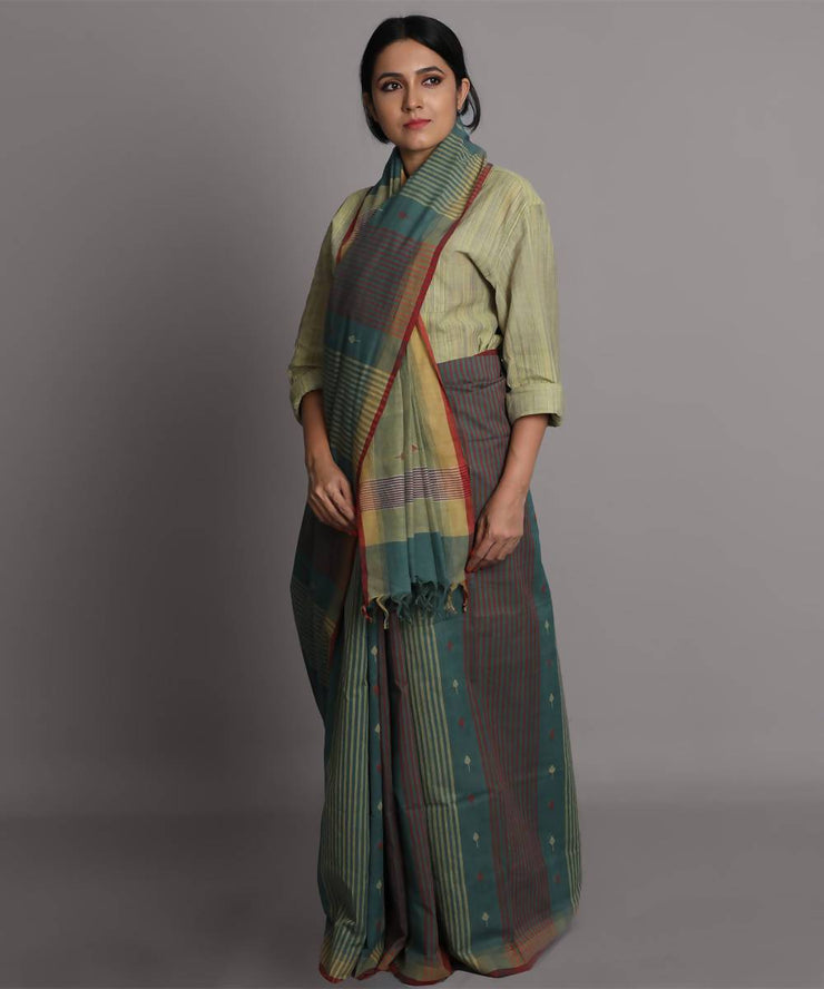 Olive green cotton jamdani handwoven saree