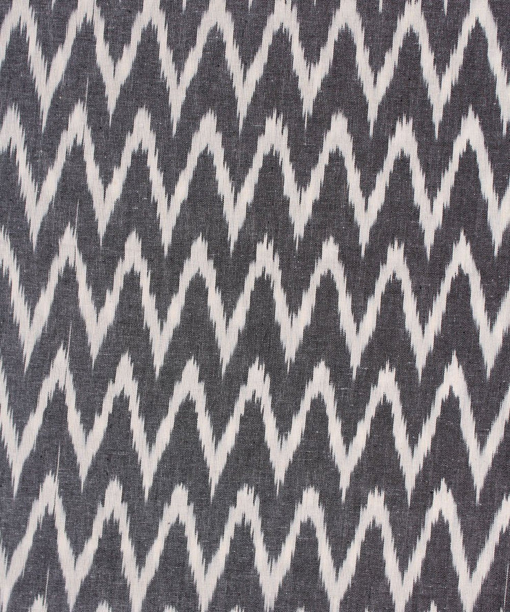 handwoven grey and white ikat cotton fabric
