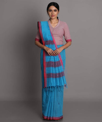 Light blue cotton handwoven saree