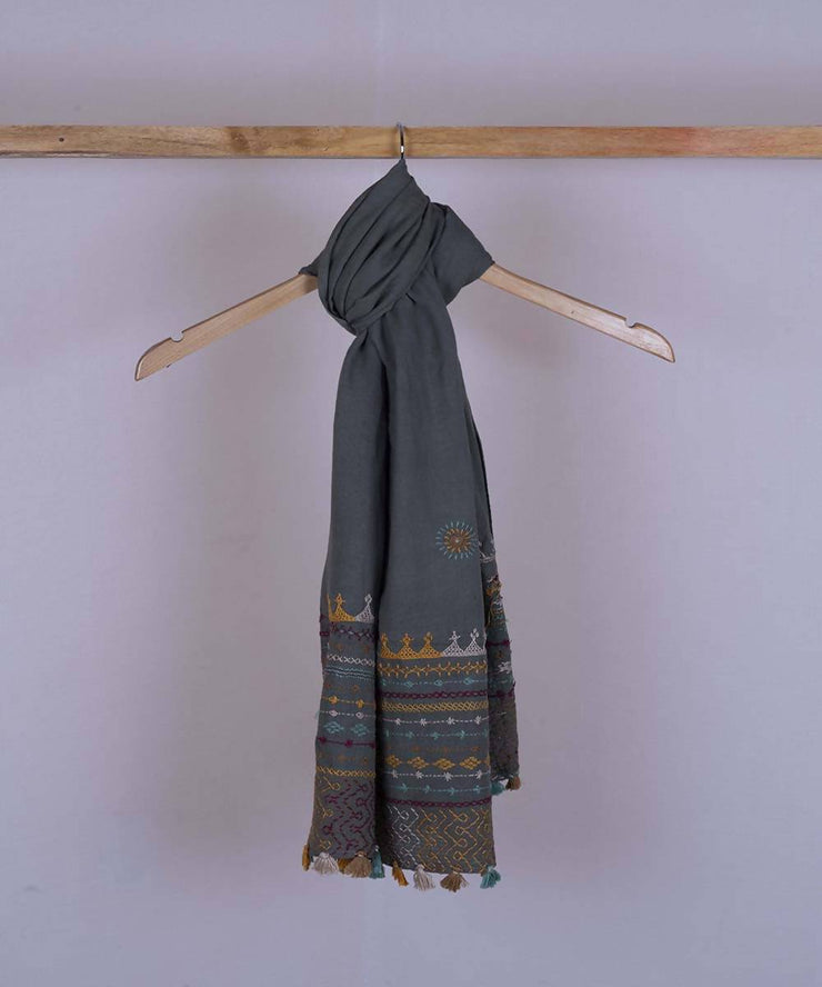 Grey lambani hand embroidered cotton stole