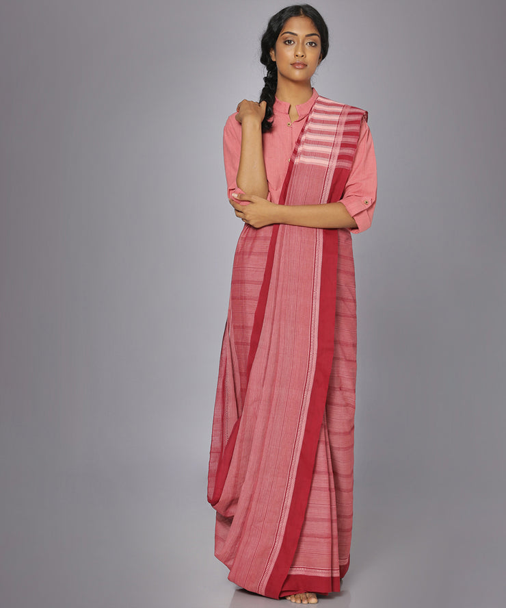 Auburn red mangalgiri cotton saree
