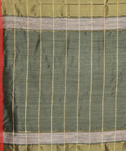 Olive green handwoven tussar silk saree