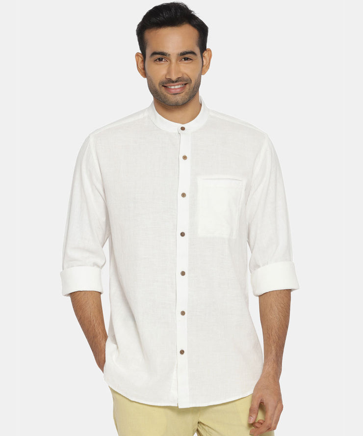 Ivory white mandarin collared shirt