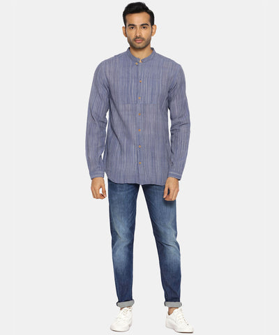Midnight blue striped mandarin collared shirt