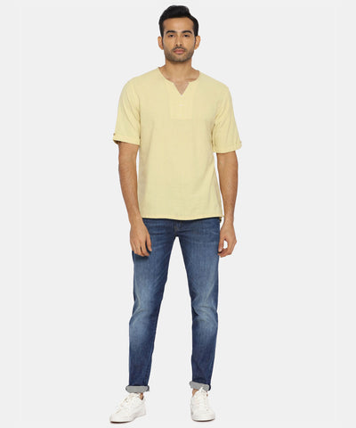 Butter yellow round collar shirt