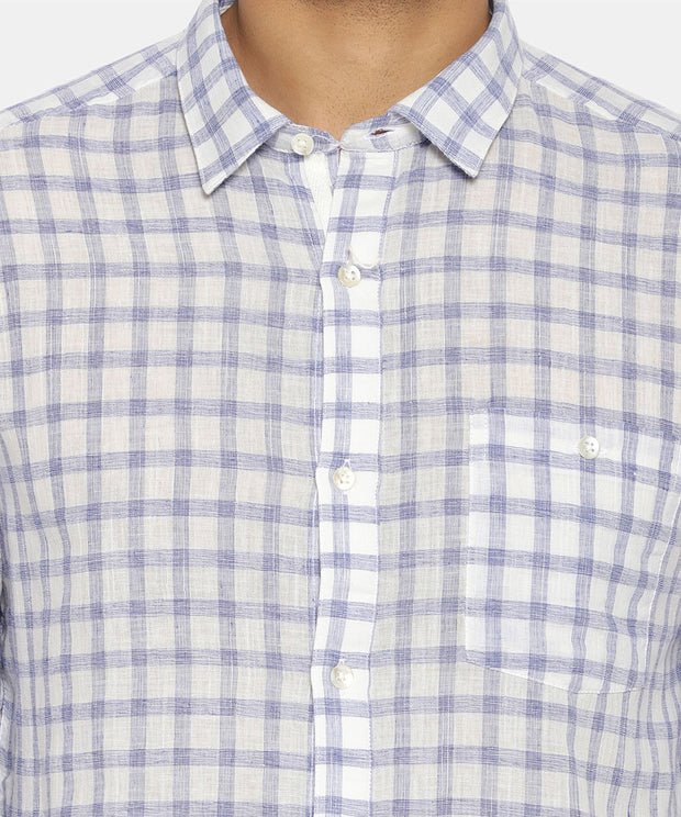Blue & white check regular collared shirt
