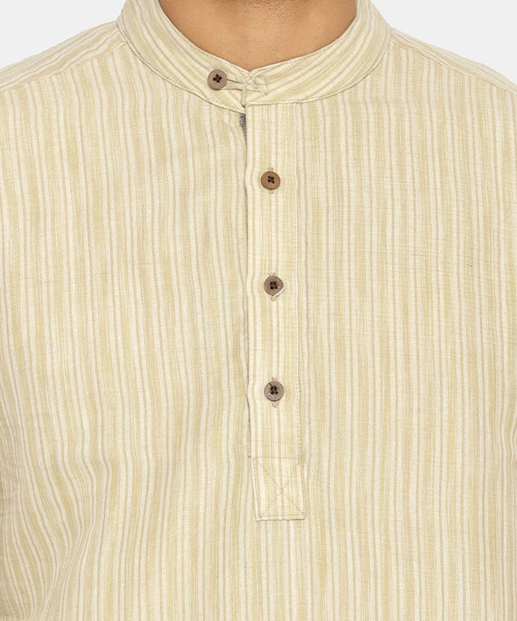 Olive striped mandarin collared short sleeve shirt