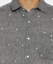 Grey jamdani regular collared shirt