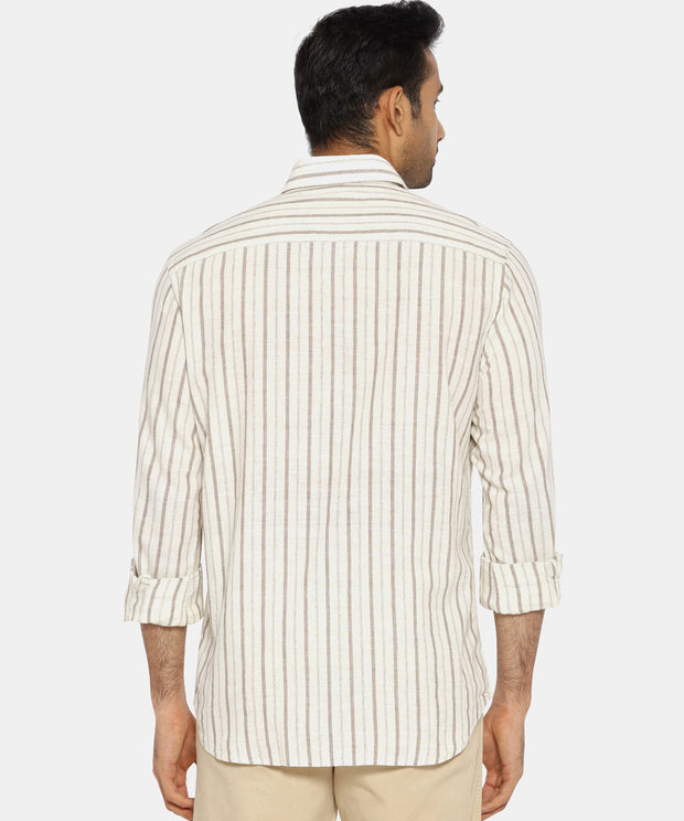 Brown & white striped regular collared shirt